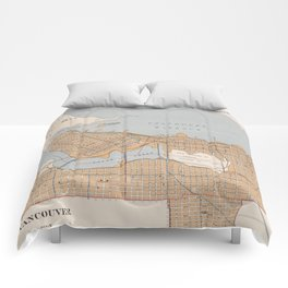Vintage Map of Vancouver Canada (1915) Comforters