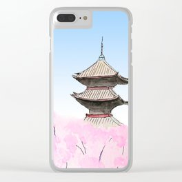 Temple and sakura Clear iPhone Case