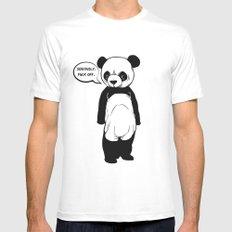 Angry Panda White MEDIUM Mens Fitted Tee