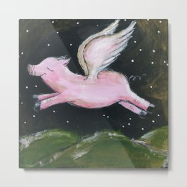 Starry Night Flying Pig Metal Print