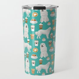 Great Pyrenees coffee lover pattern print gifts for dog breed unique dog person Travel Mug