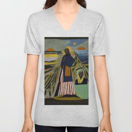 African American Masterpiece 'Experience America Harriet Tubman' by William Johnson Unisex V-Neck