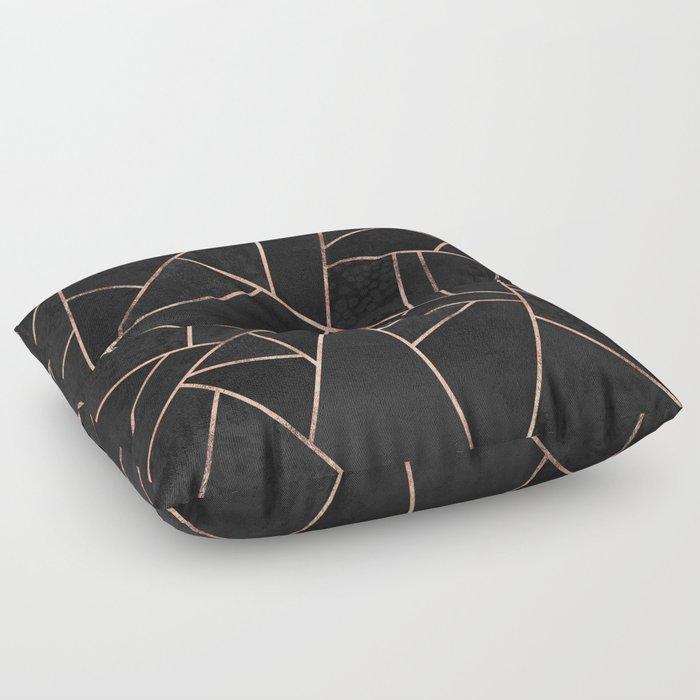 Velvet Black & Rose Gold Floor Pillow by elisabethfredriksson | Society6