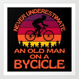 Old Man On A Bicycle Art Print