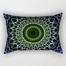 Mandala in deep blue and gold tones. Rectangular Pillow