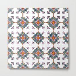 Colorful geometric ethnic motive mandala tile Metal Print