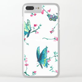 Three Butterflies Clear iPhone Case