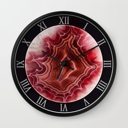Earth teasures - Bloody red agate pattern Wall Clock