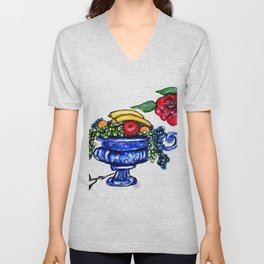 Classic Fruit Bowl Digital Enhanced Unisex V-Neck