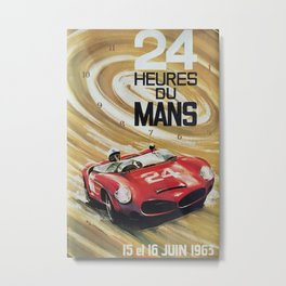 1963 Le Mans poster, Race poster, car poster, garage poster Metal Print