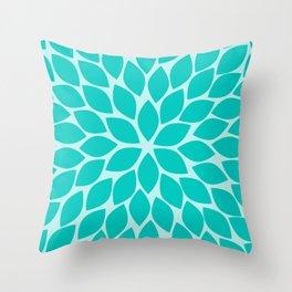 Turquoise Chrysanthemum Throw Pillow