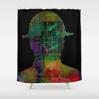 oil Shower Curtains featuring oil worker by Ganech joe