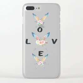 Watercolor Roses Arrows Love Typography Clear iPhone Case