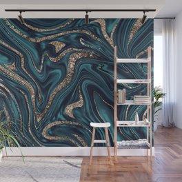 Teal Navy Blue Gold Glitter Marble #1 (Faux Glitter) #decor #art #society6 Wall Mural