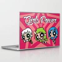 powerpuff girls Laptop & iPad Skins featuring Girls Power by Danilo Machuca