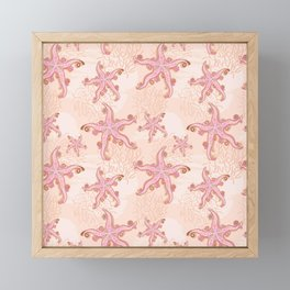 Starfish and Coral Pink Pastel Pattern Framed Mini Art Print