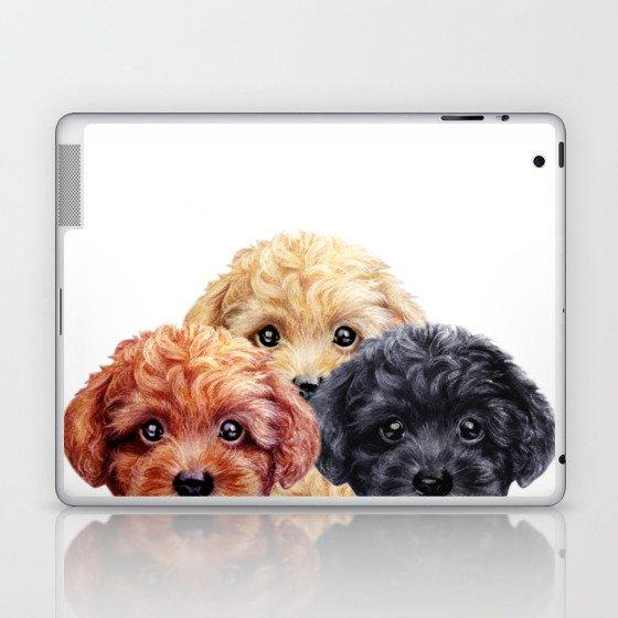 Toy poodle trio, Dog illustration original painting print Laptop & iPad Skin