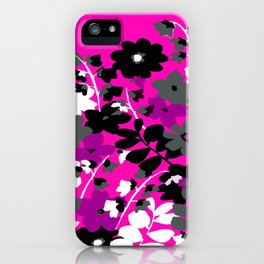 SUNFLOWER TOILE PINK BLACK GRAY WHITE PATTERN iPhone Case
