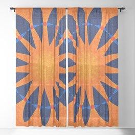 Blue flower petals with orange background Sheer Curtain