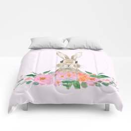 rabbit and pink camellia flower Comforters