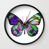 lsd Wall Clocks featuring LSD butterfly by Pink Eyed Paranoia