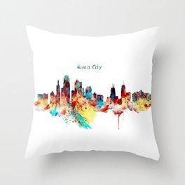 Kansas City Skyline Silhouette Throw Pillow