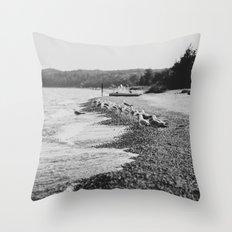 Summer Beach Black and White Throw Pillow