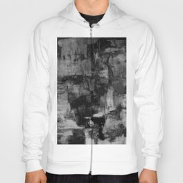 Crackled Gray - Black, white and gray, grey textured abstract Hoody