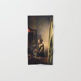 Johannes Vermeer - Girl reading a letter by an open window Hand & Bath Towel