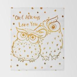 Owl Always Love You - Gold Throw Blanket