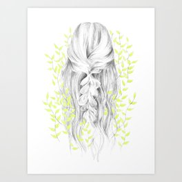 Green Green Girl Art Print