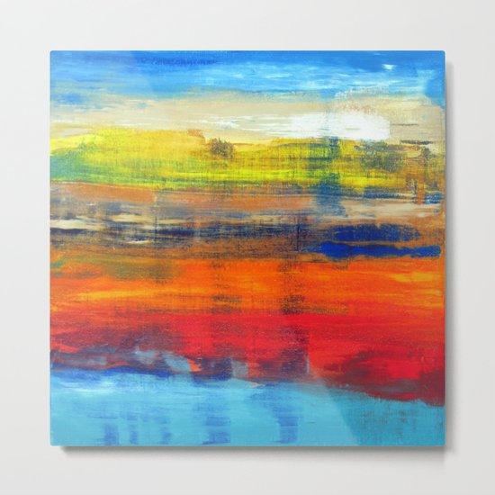 Horizon Blue Orange Red Abstract Art Metal Print