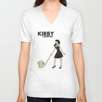 kirby V-neck T-shirts featuring Kirby Hoover by Lily's Factory