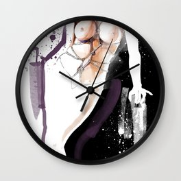 The beauty of tight binding, Naked body tied up with rope, Nude art, Fine-art shibari rope bondage Wall Clock