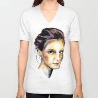 emma watson V-neck T-shirts featuring Emma Watson by caffeboy