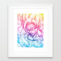 goku Framed Art Prints featuring Multicolor strength by Creadoorm