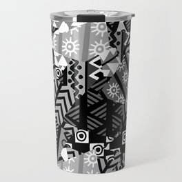 Black and white patchwork background with african motifs Travel Mug