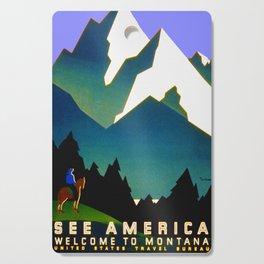 See America Montana - Retro Travel Poster Cutting Board