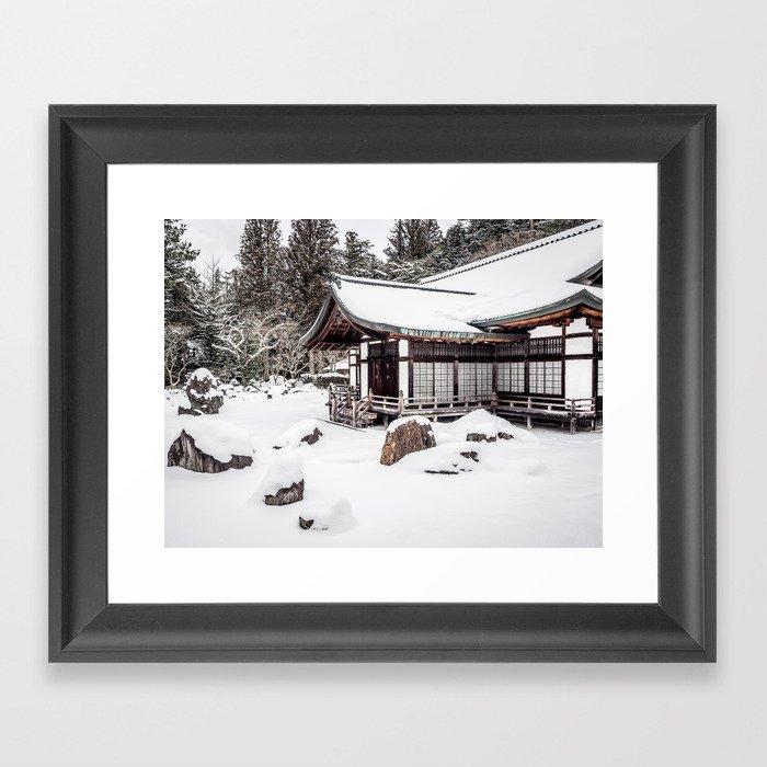 Japanese Buddhist Temple in Snow Framed Art Print