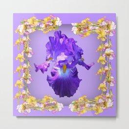 Purple Iris & Iris Border Pattern Art Metal Print