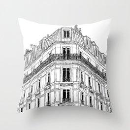 Parisian Facade Throw Pillow