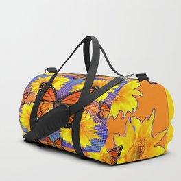 ORNATE YELLOW MONARCH BUTTERFLIES & YELLOW SUNFLOWERS Duffle Bag