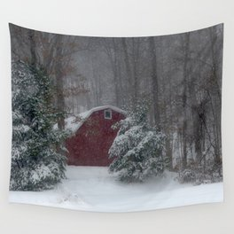 Red Barn in a Snow Storm Wall Tapestry