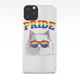 Gay Pride Ragdoll Cat with LGBT Rainbow Sunglasses iPhone Case