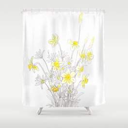 white daisy and yellow daffodils ink and watercolor Shower Curtain