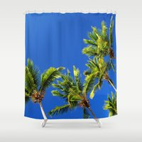 coconut wishes Shower Curtains featuring Coconut Peaks by Tom Lee