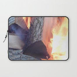 fire, burning, woods, wood, forest, black, fireplace, firewood, yellow, bright, energy, danger, heat Laptop Sleeve