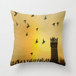 Rooftop Birds Throw Pillow