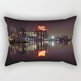Sugar Glow feature the neon sign of the Domino Sugar factory on Baltimore Maryland's Inner Harbor Rectangular Pillow