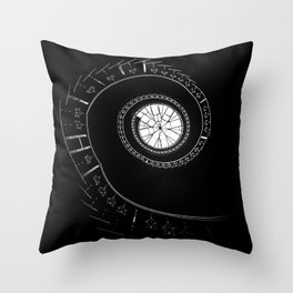 Spiral staircase in blck and white Throw Pillow